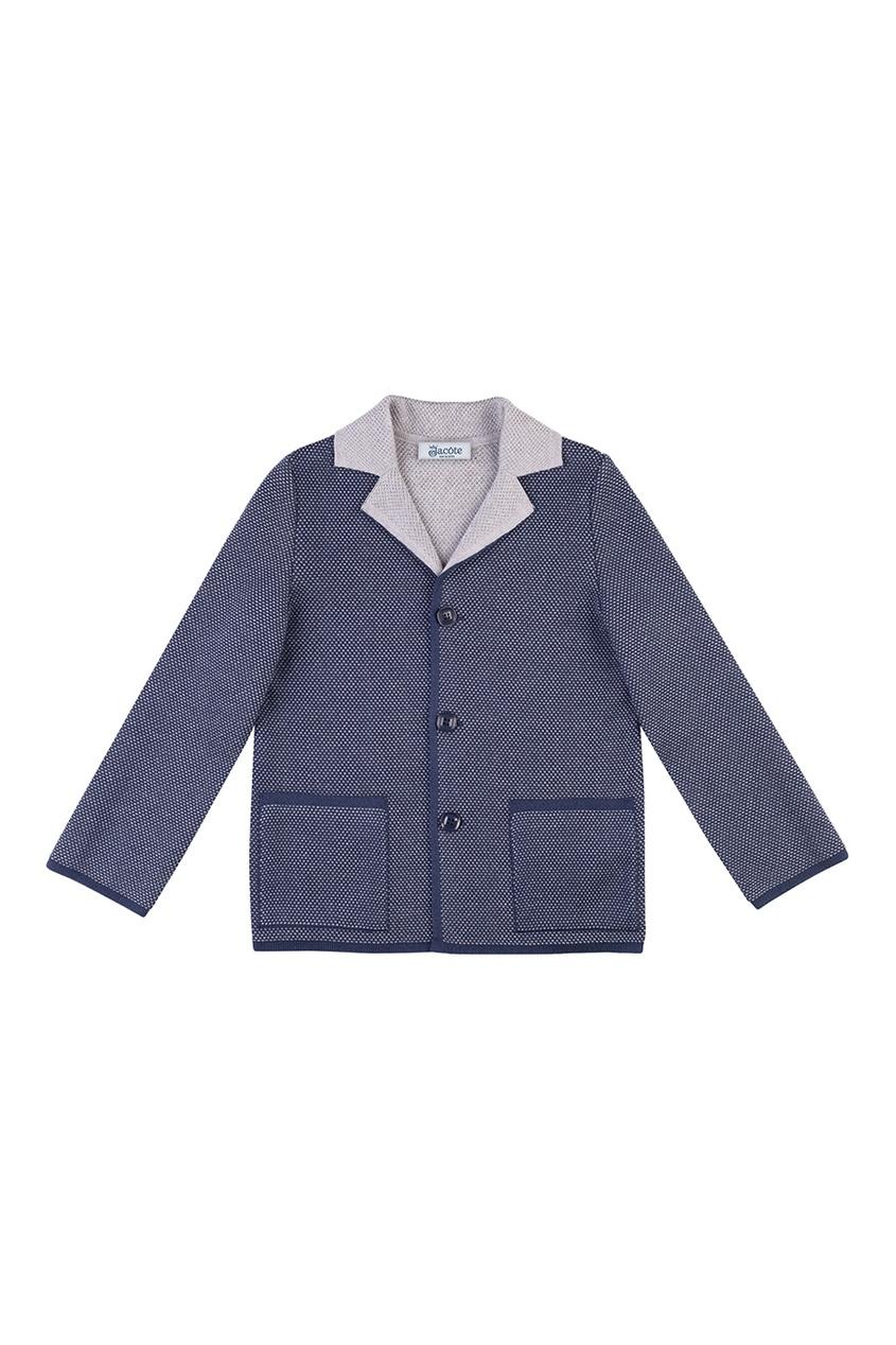 Синий пиджак из полушерстяного трикотажа от Jacote