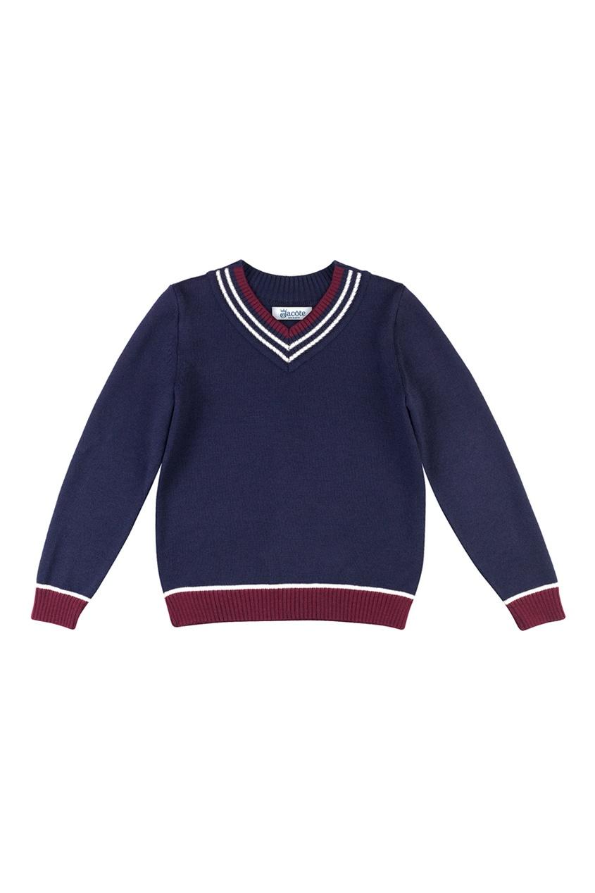 Синий пуловер с контрастными окантовками от Jacote