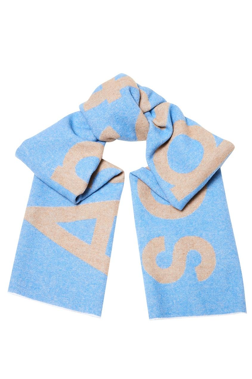 Голубой шарф с логотипом