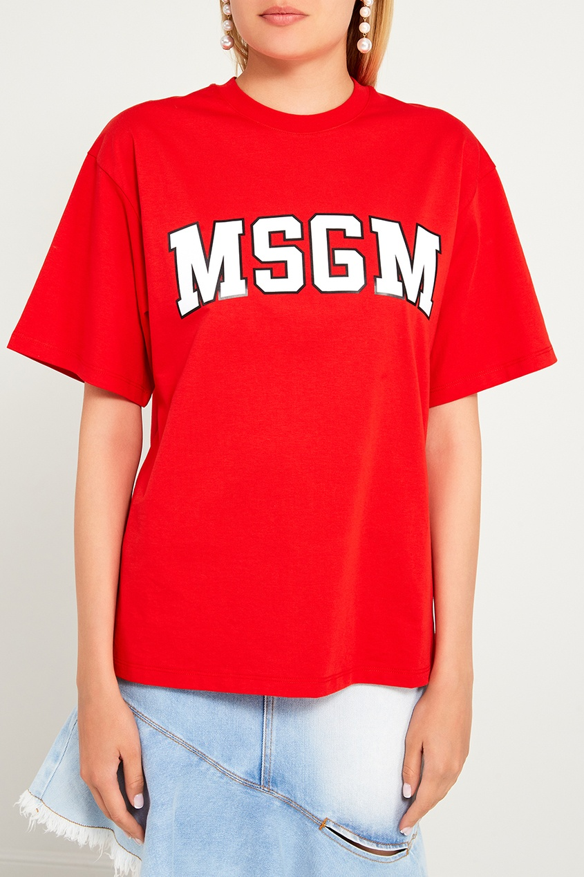 женская футболка msgm, красная