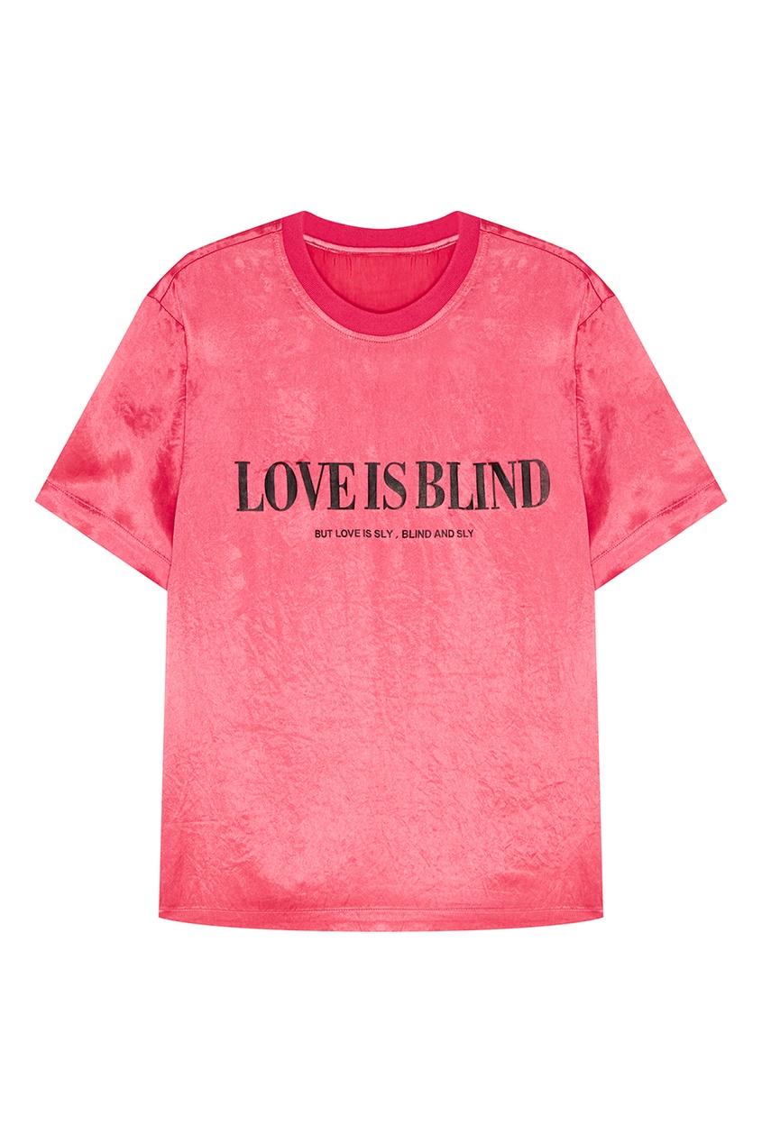 Купить со скидкой Розовая футболка с принтом