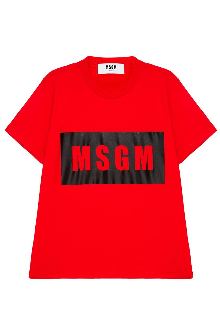 MSGM Красная футболка с логотипом msgm красная хлопковая блузка с логотипами