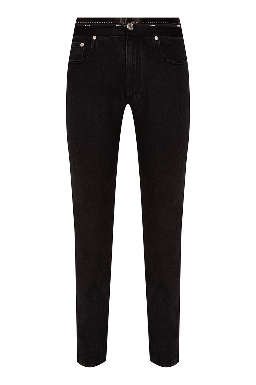 MSGM Черные джинсы с декоративным поясом