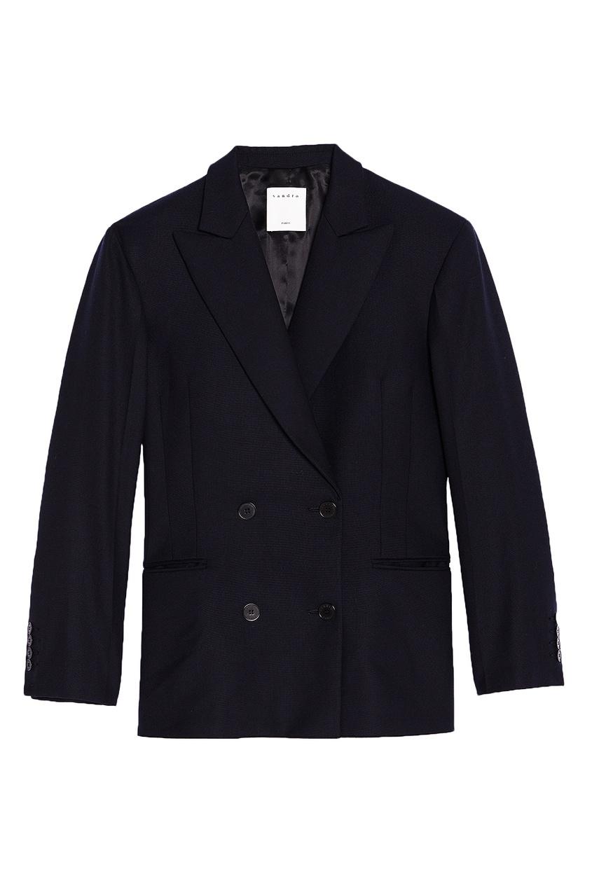 Sandro Темно-синий двубортный жакет костюм жакет платье enjoy цвет темно синий