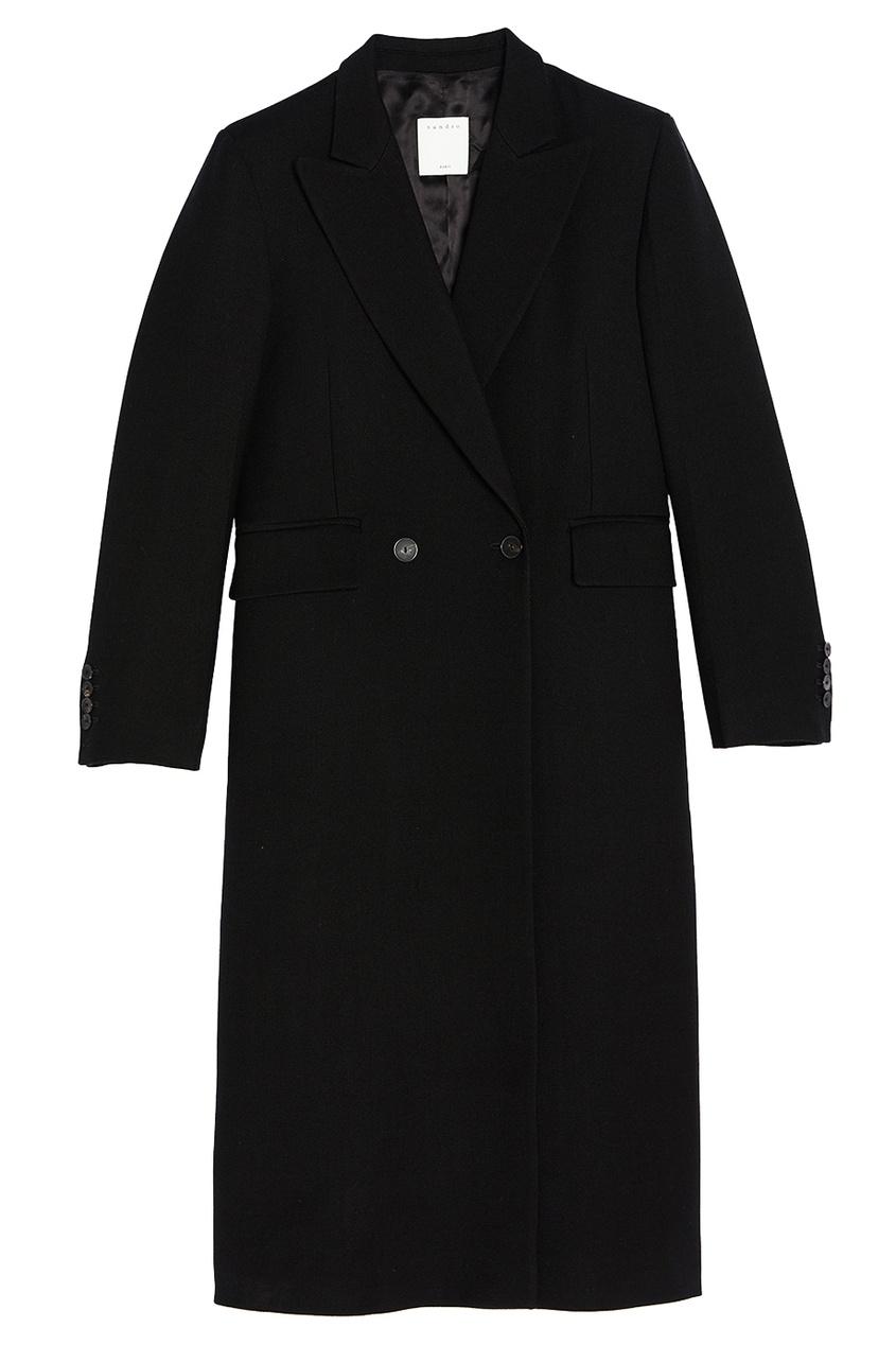 Sandro Черное пальто из шерсти