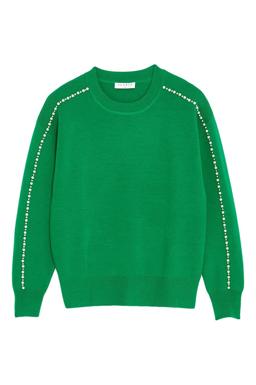 Sandro Зеленый джемпер с жемчужинами