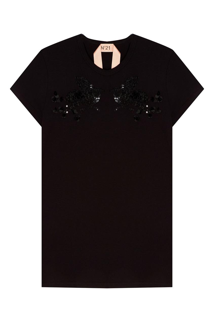 No.21 Черная футболка с вышивкой пайетками