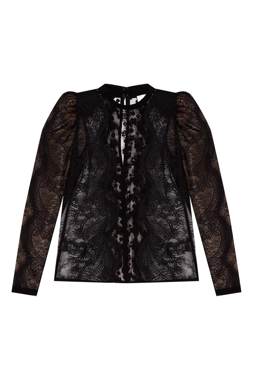 Фото #1: Черная кружевная блузка