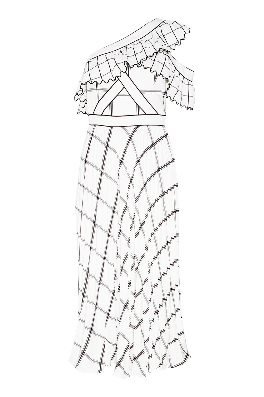 Self-Portrait Белое платье-миди в клетку