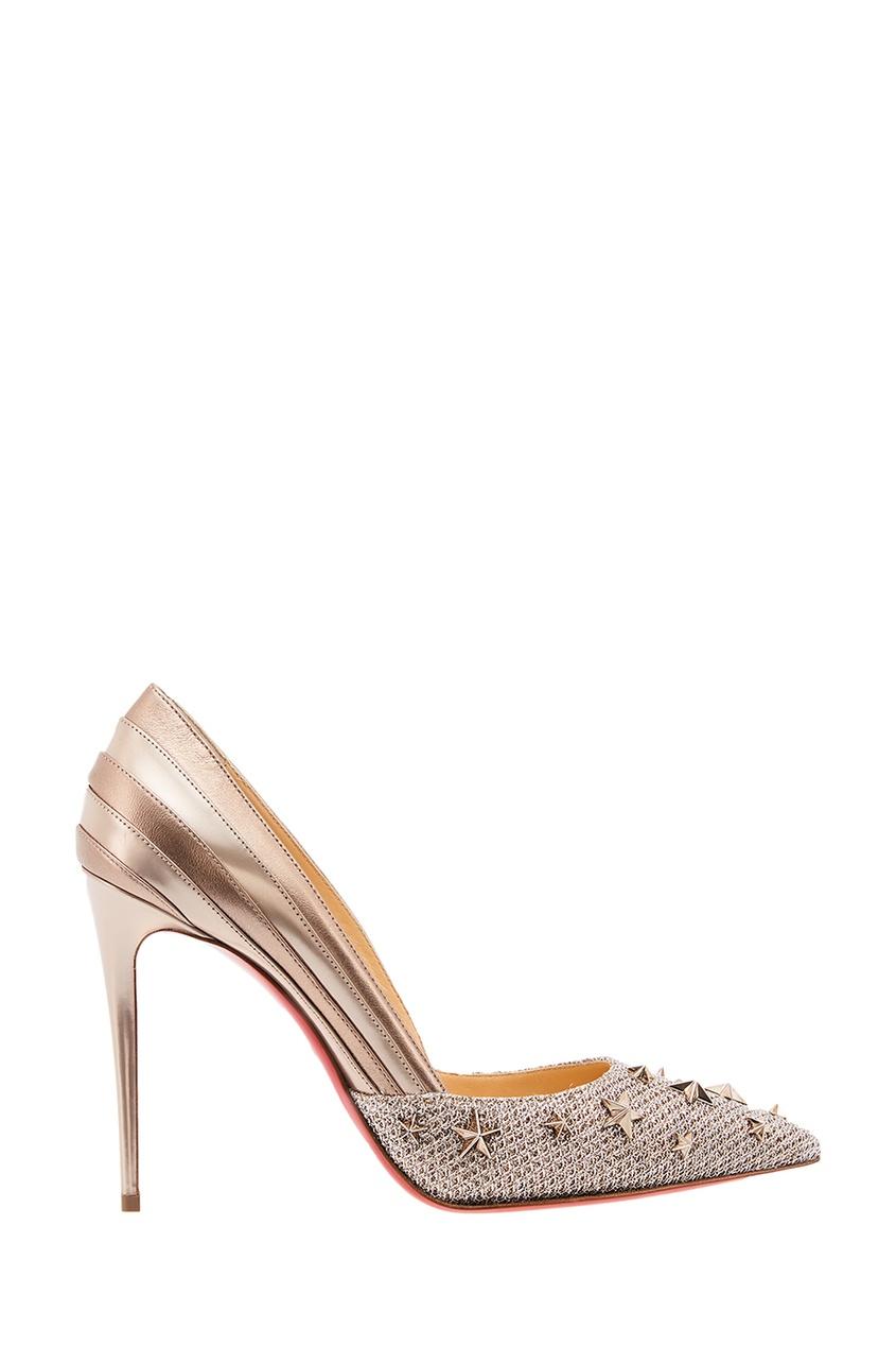 женские туфли christian louboutin, золотые