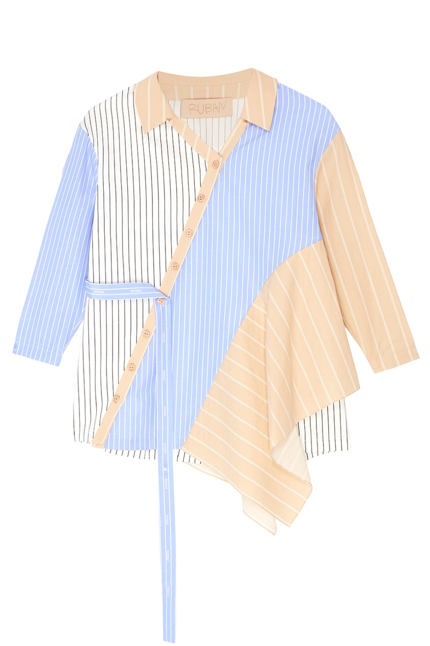 Платье-рубашка из комбинированного хлопка Ruban Kids
