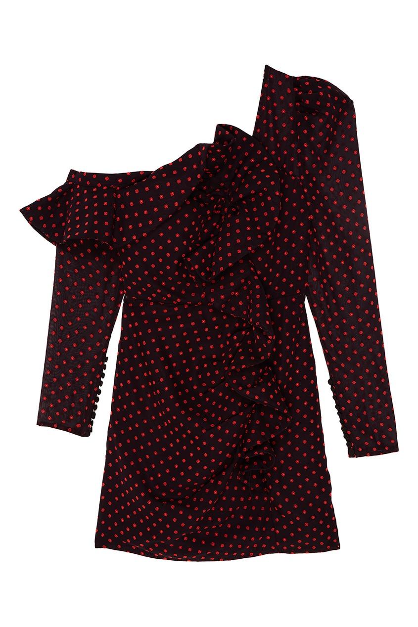 Self-Portrait Платье-футляр с драпированным воланом платье с воланом из жатого крепа