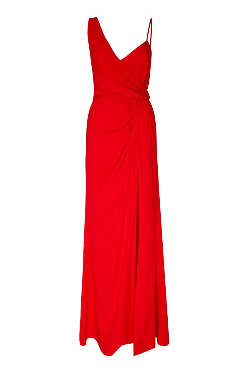 Красное платье-макси с драпировкой