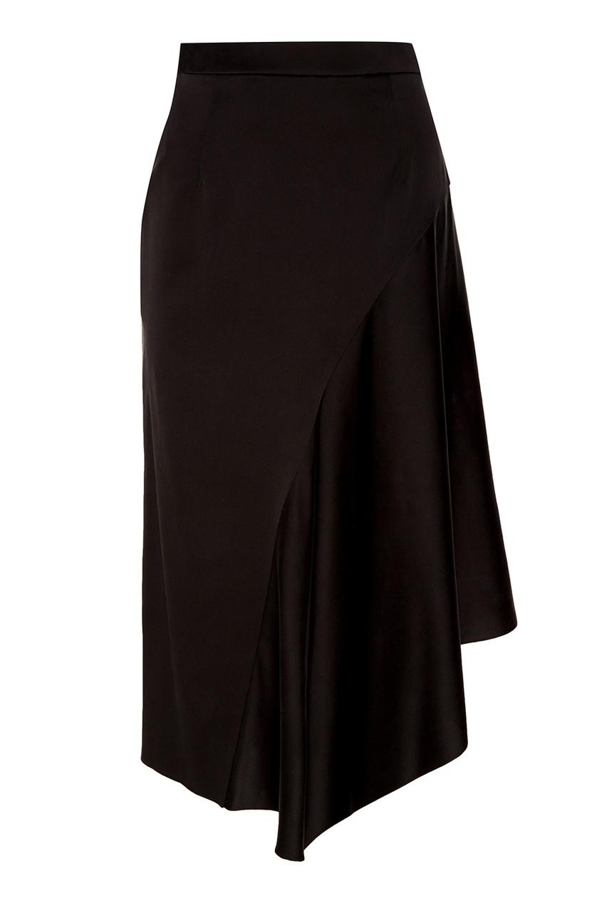 Черная шелковая юбка RUBAN