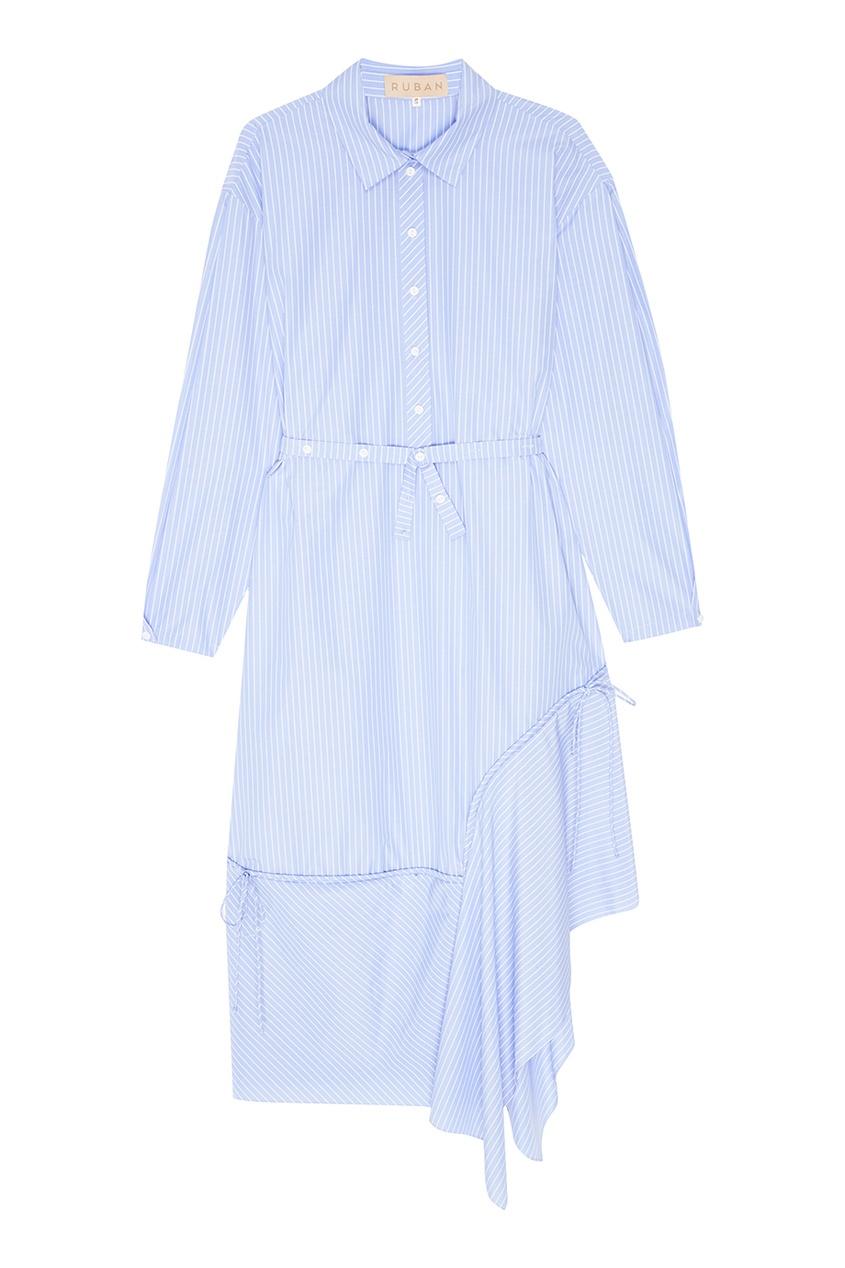 Ruban Голубое платье-рубашка в полоску платье рубашка в полоску dynastie