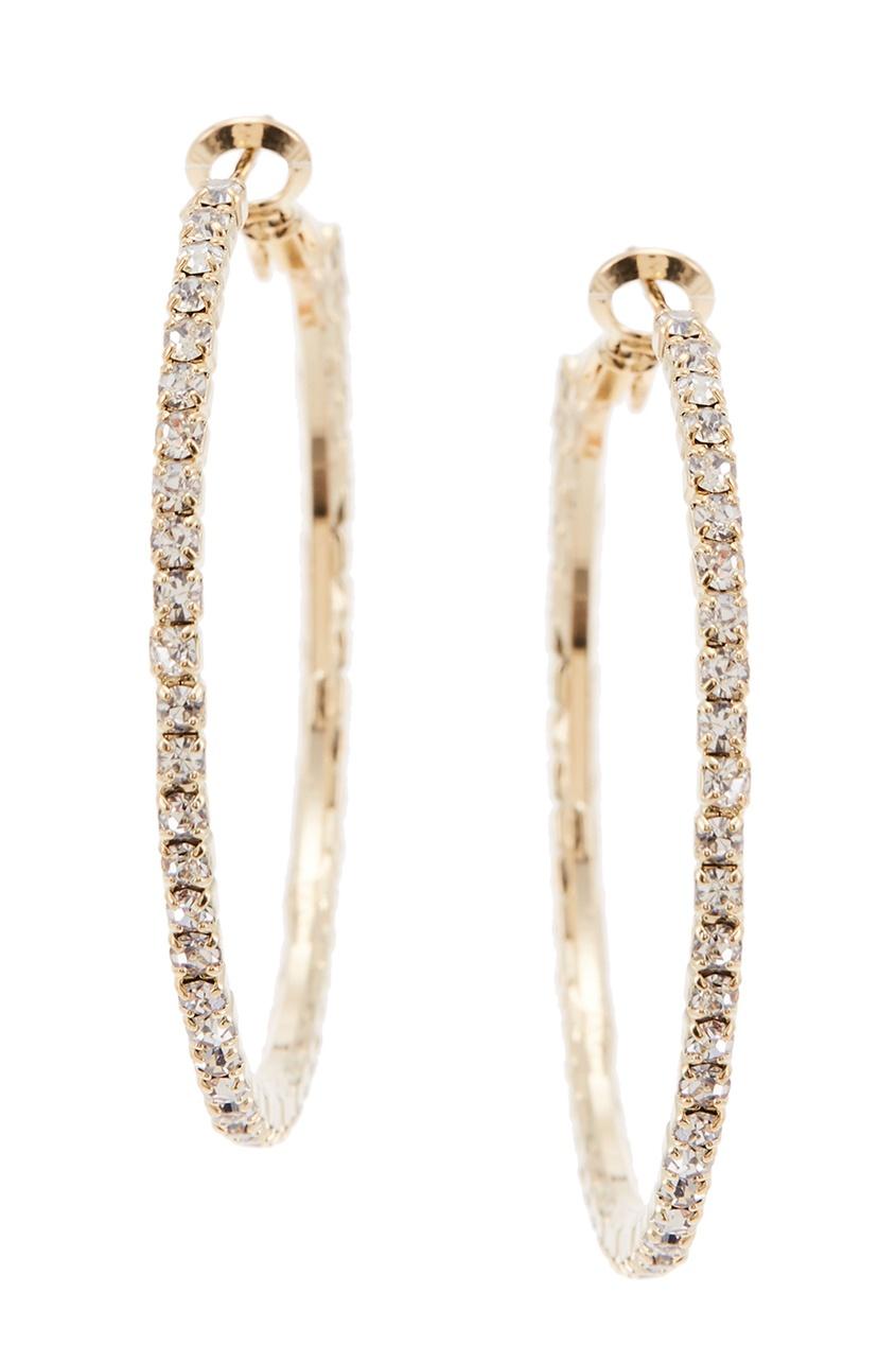 Золотистые серьги-кольца с кристаллами
