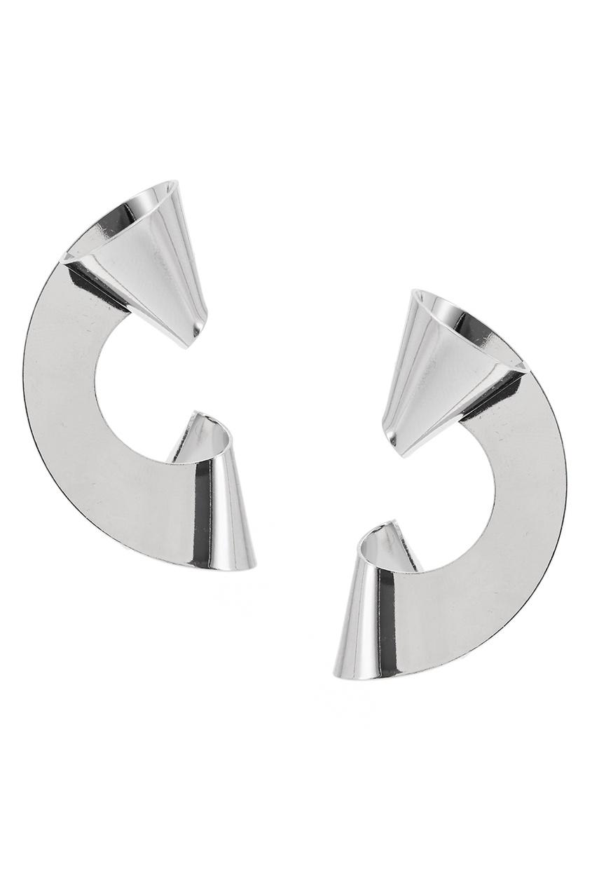 Блестящие серебристые серьги-завитки
