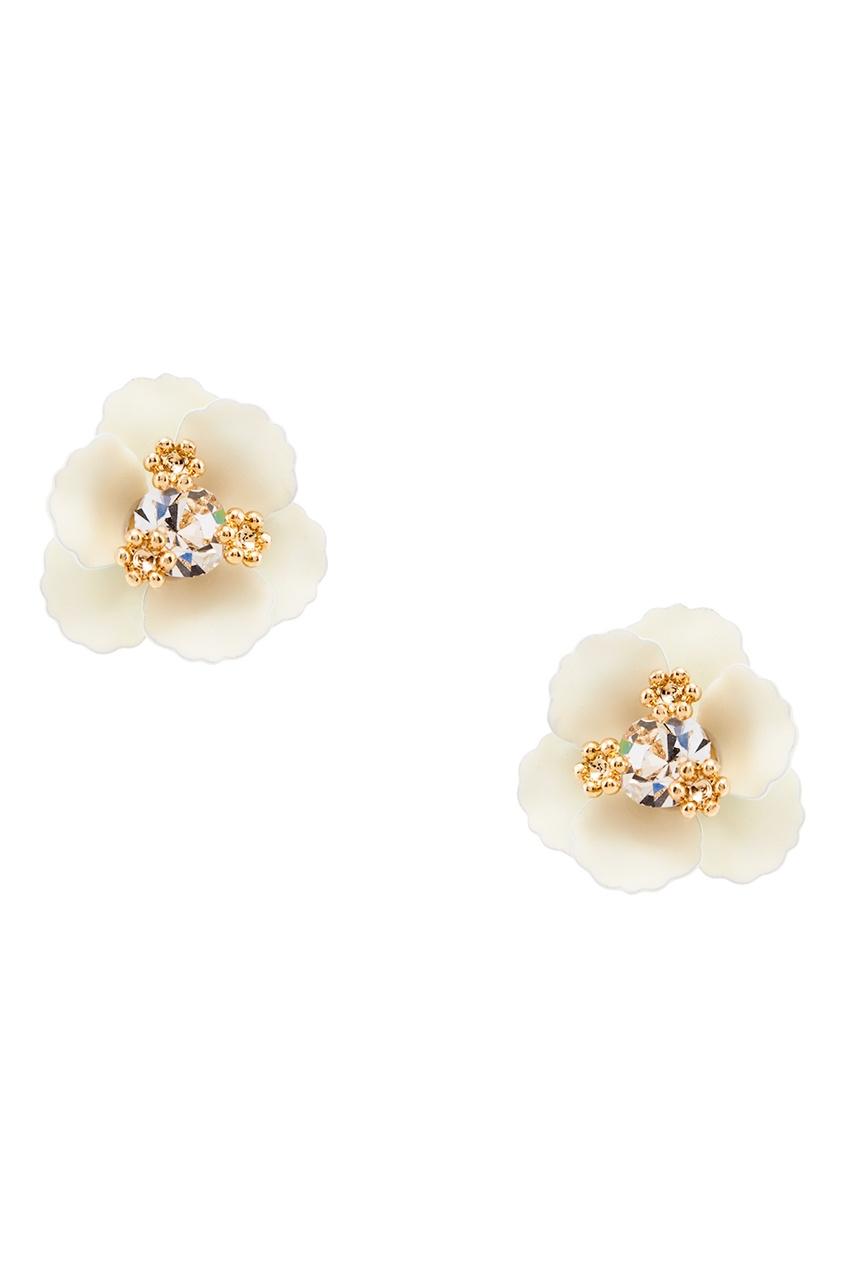Серьги-цветы с кристаллами