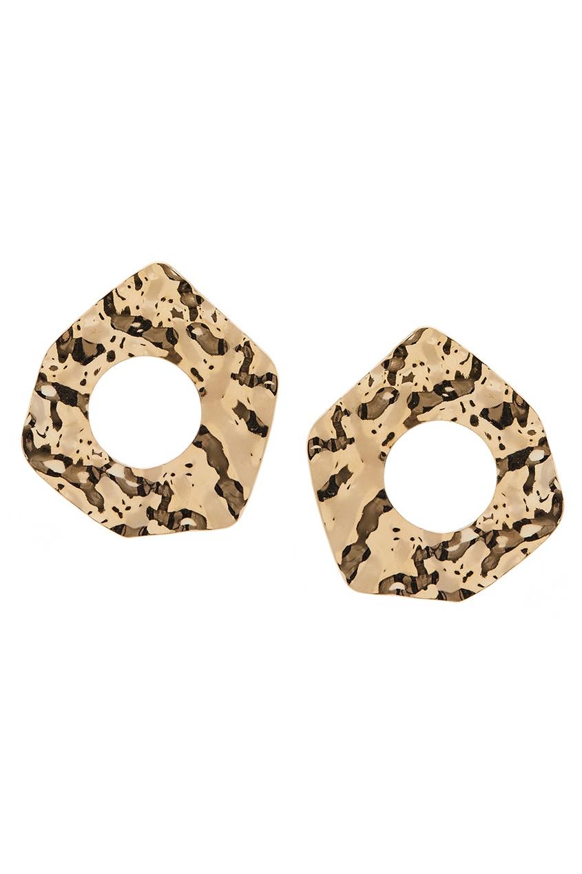 Золотистые серьги с отверстиями