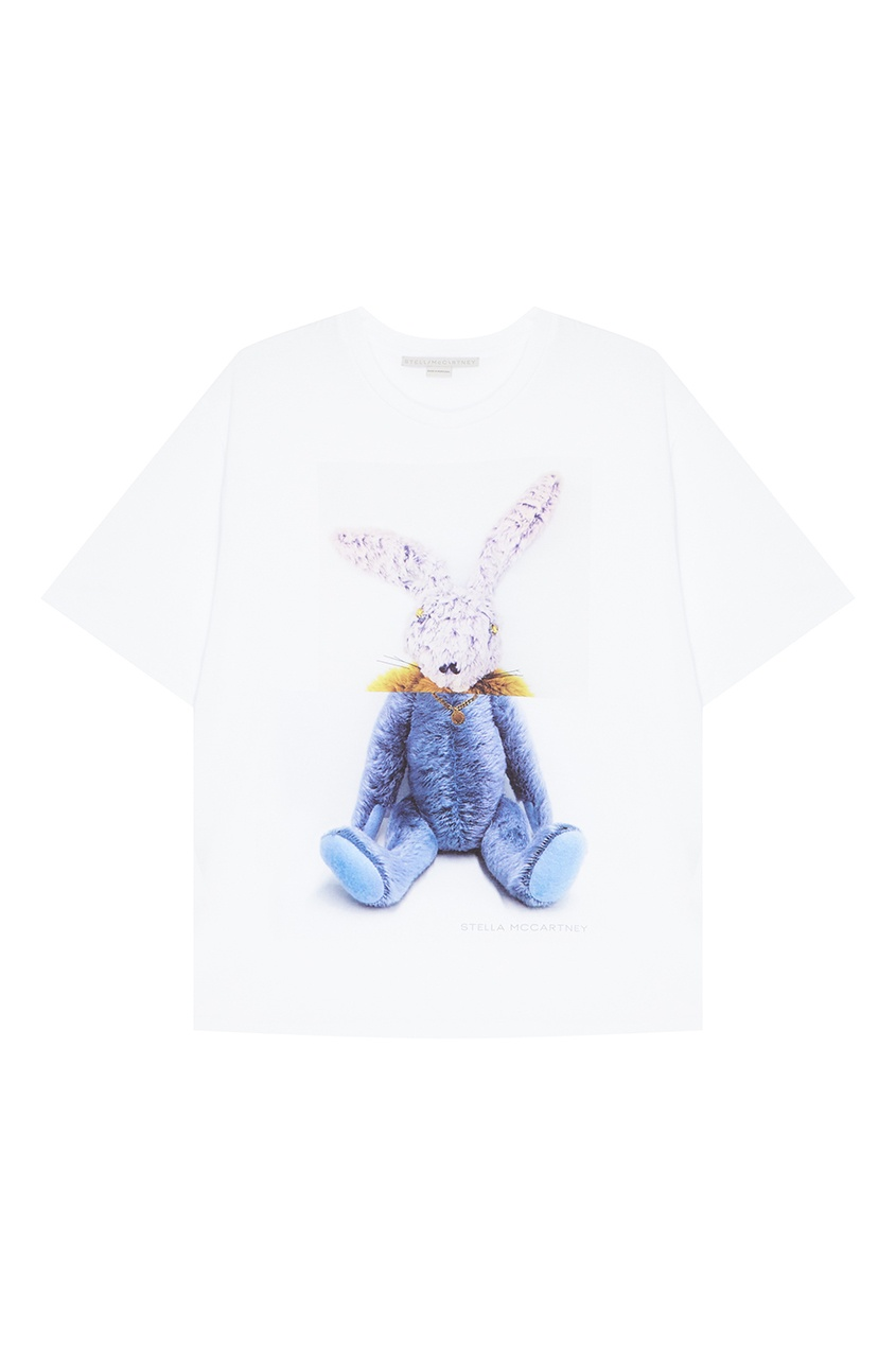 Stella McCartney Белая футболка с кроликом stella mccartney белая футболка со звездами