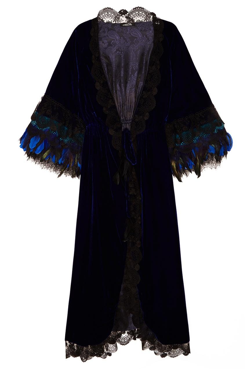 Синий халат из бархата AnnBo