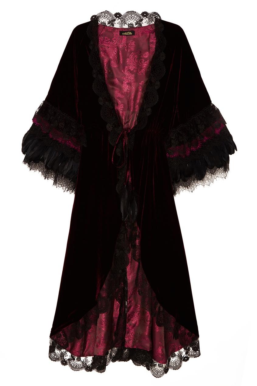 Бордовый халат из бархата