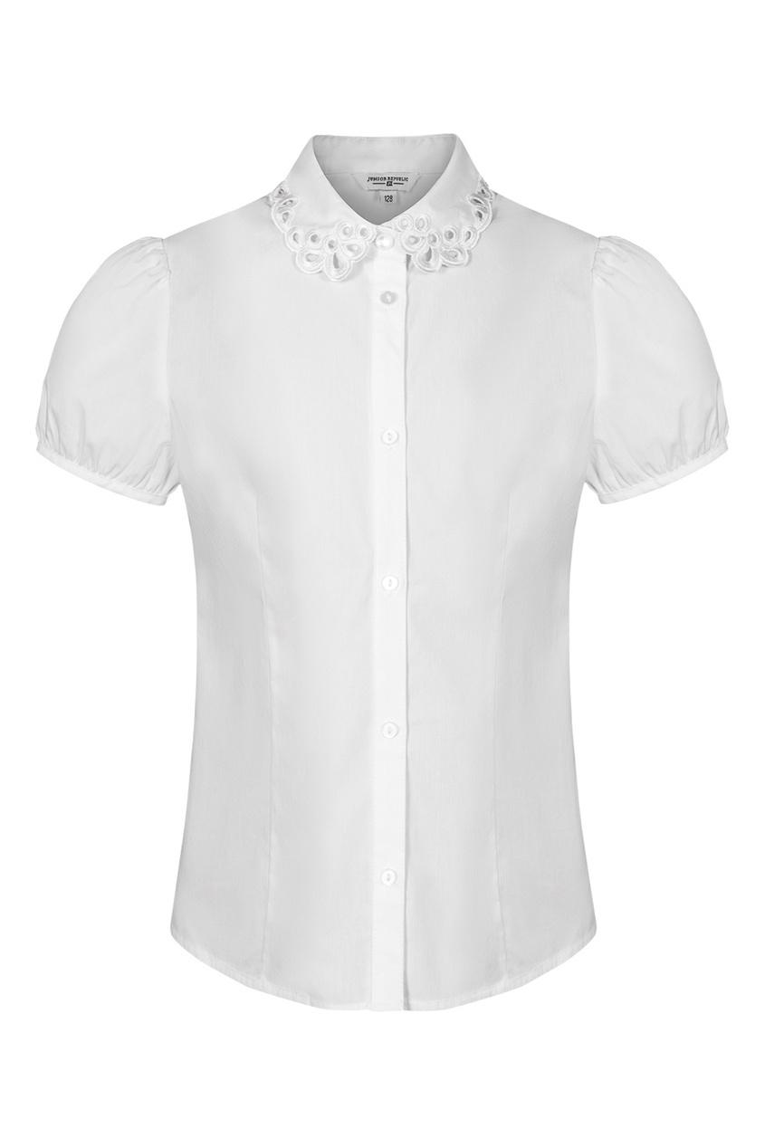 Junior Republic Белая блузка с вышитым воротником блузка детская junior republic блузка для девочки белая