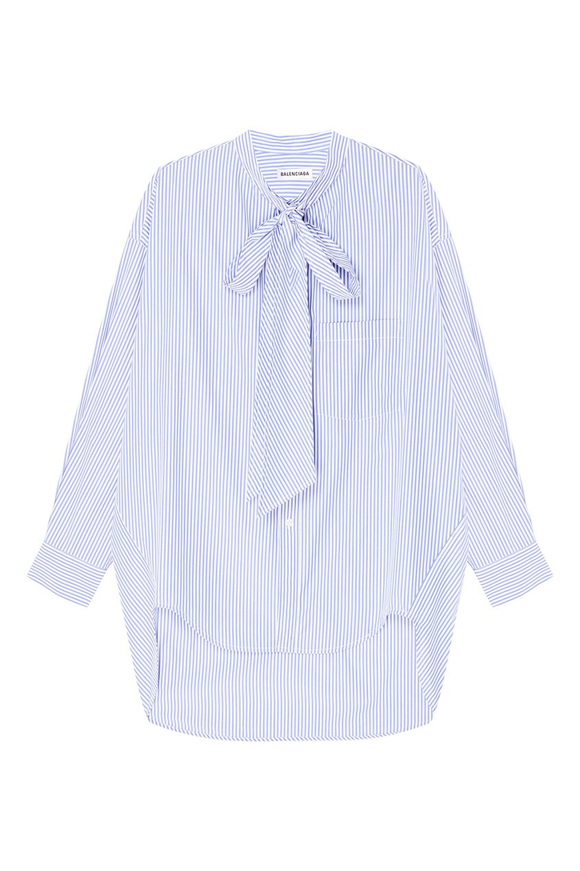 Balenciaga Голубая хлопковая рубашка в полоску голубая рубашка