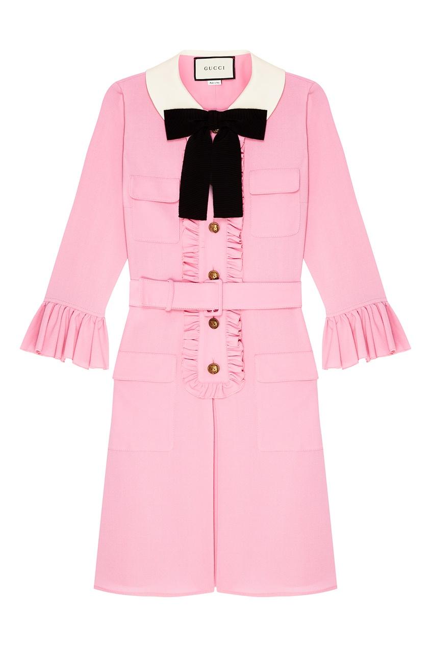 Розовое платье с рюшами от Gucci