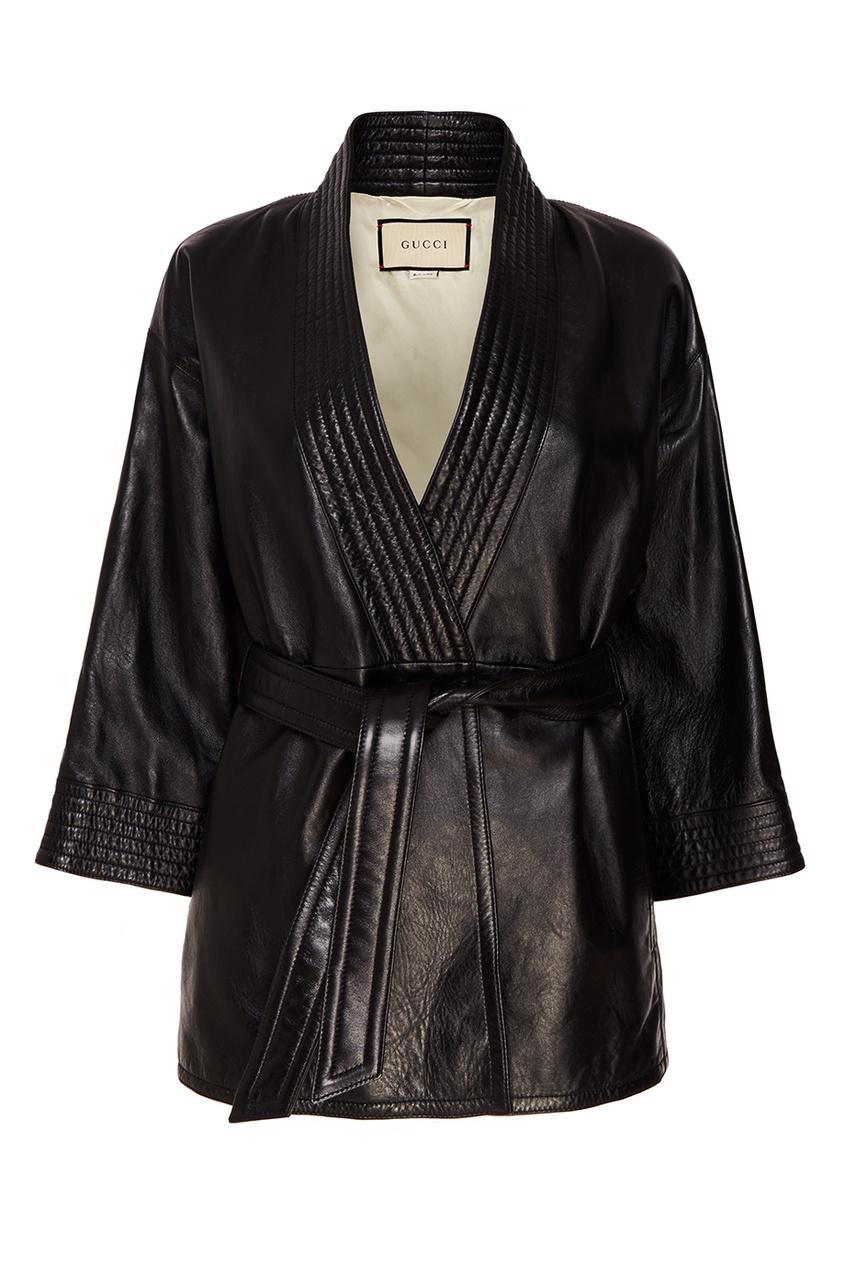 Кожаная куртка с поясом от Gucci