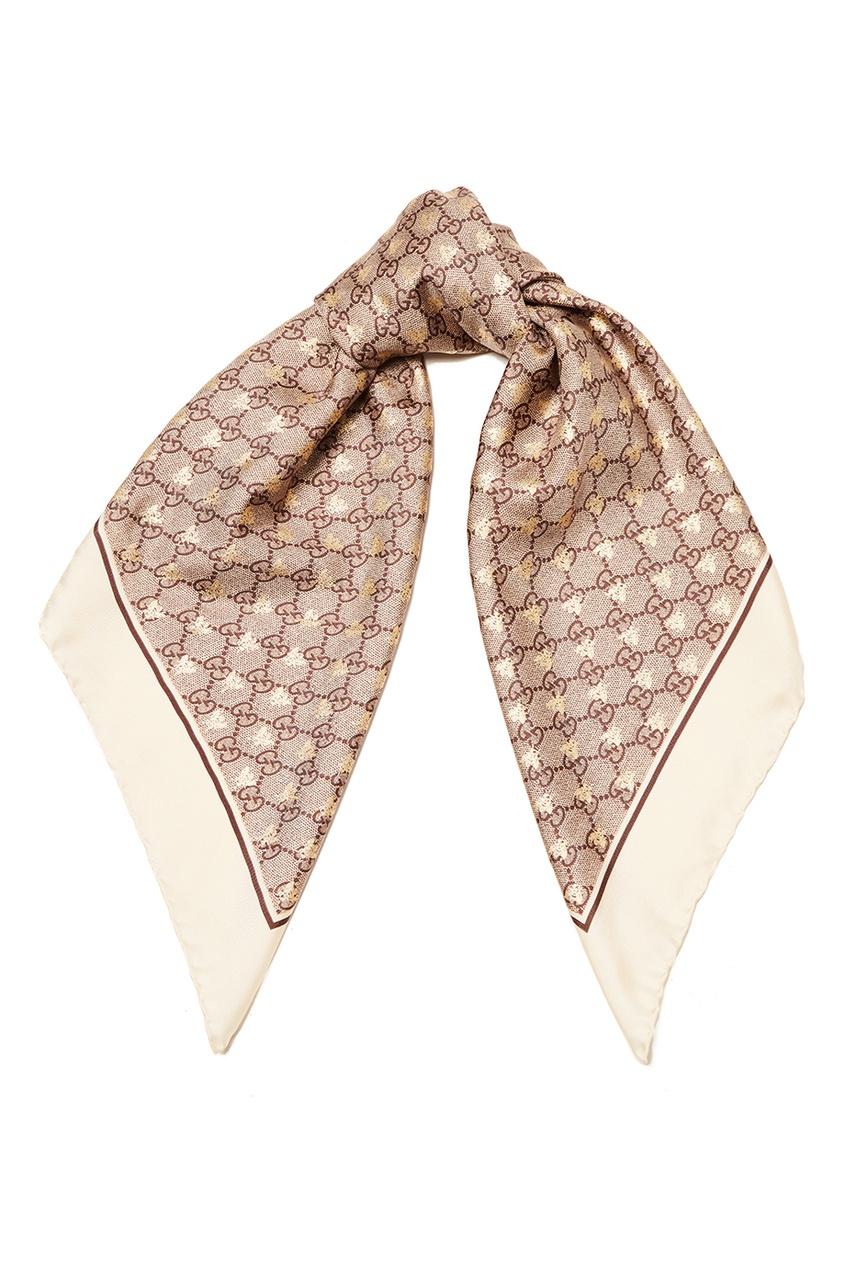 Gucci Шелковый платок с монограммами gucci повязка из сетки с монограммами
