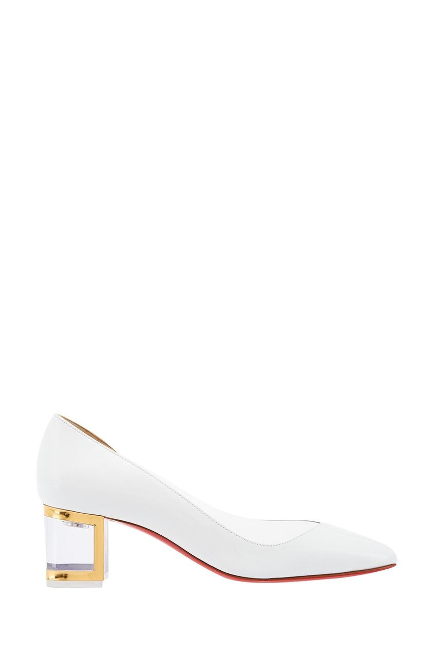 Белые лакированные туфли Provisore 55 Christian Louboutin