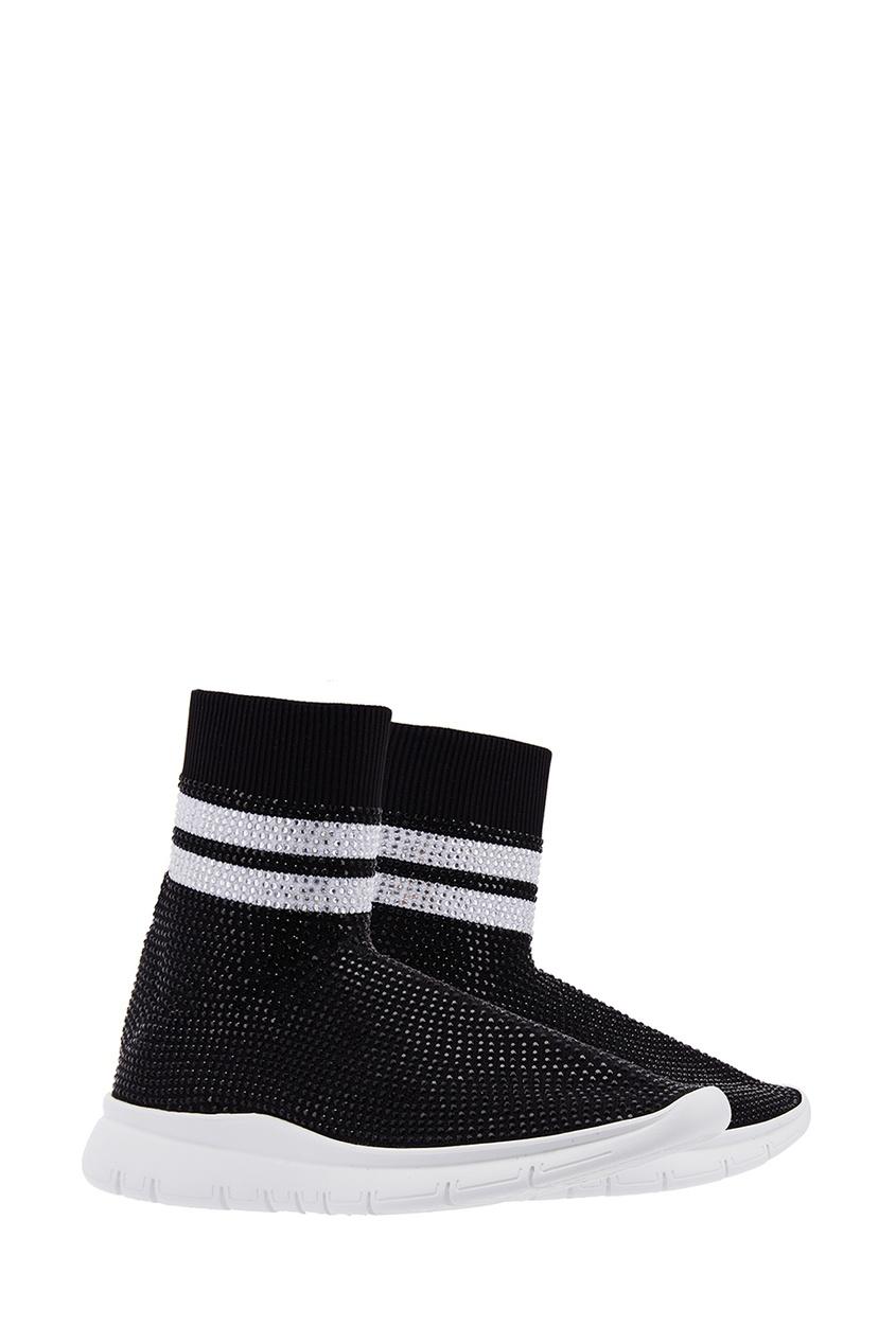 Фото 2 - Высокие кроссовки с кристаллами от Joshua Sanders черного цвета