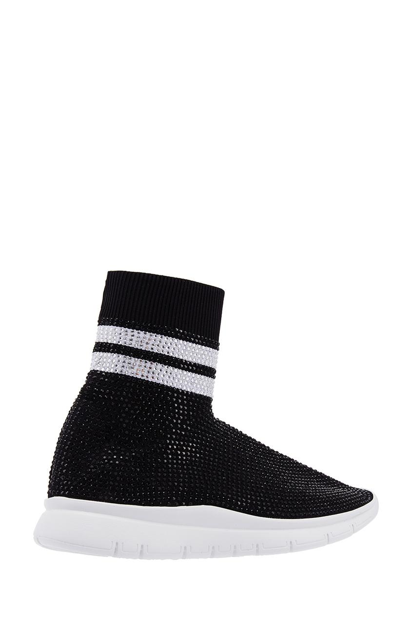 Фото 3 - Высокие кроссовки с кристаллами от Joshua Sanders черного цвета