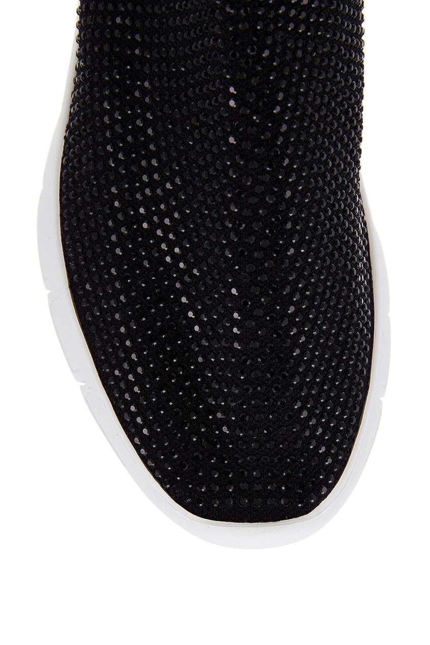 Фото 4 - Высокие кроссовки с кристаллами от Joshua Sanders черного цвета