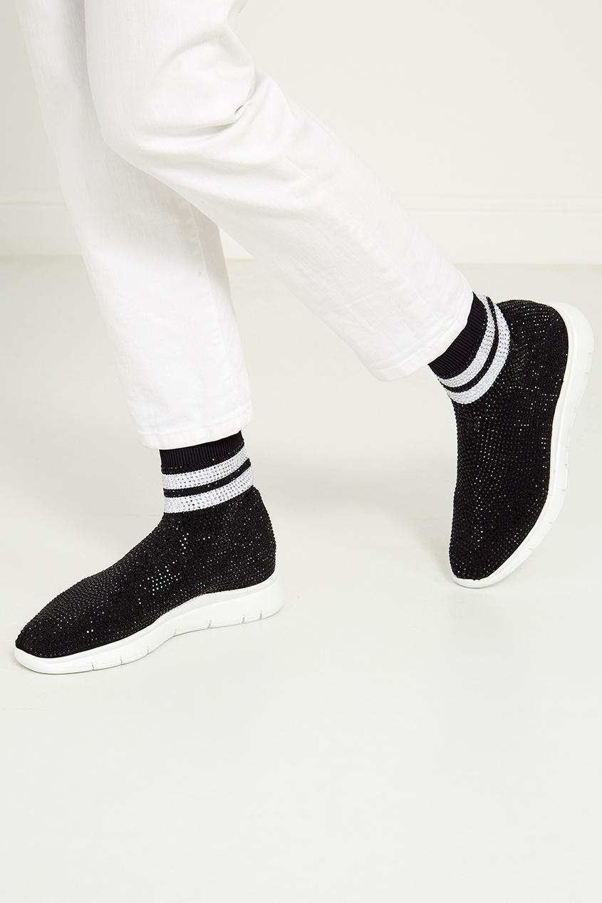 Фото 6 - Высокие кроссовки с кристаллами от Joshua Sanders черного цвета