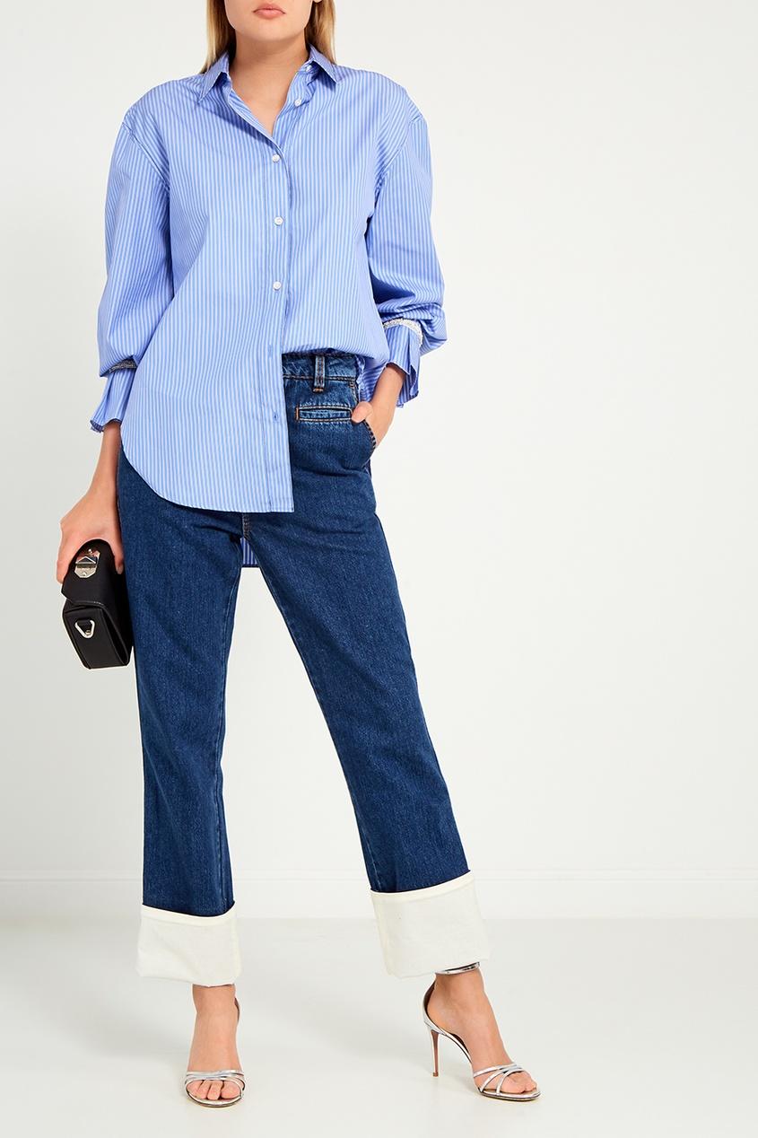 женская рубашка sandro, голубая