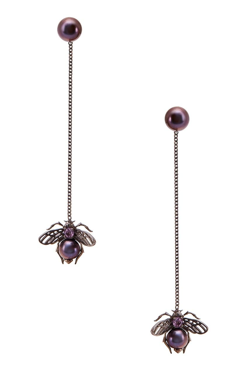 Axenoff Jewellery Серьги с черным жемчугом и аметистом