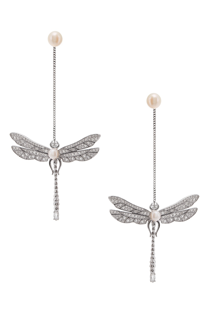 Axenoff Jewellery Серебряные серьги с жемчугом и топазами