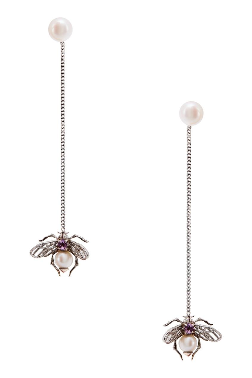 Axenoff Jewellery Серебряные серьги с жемчугом и аметистом