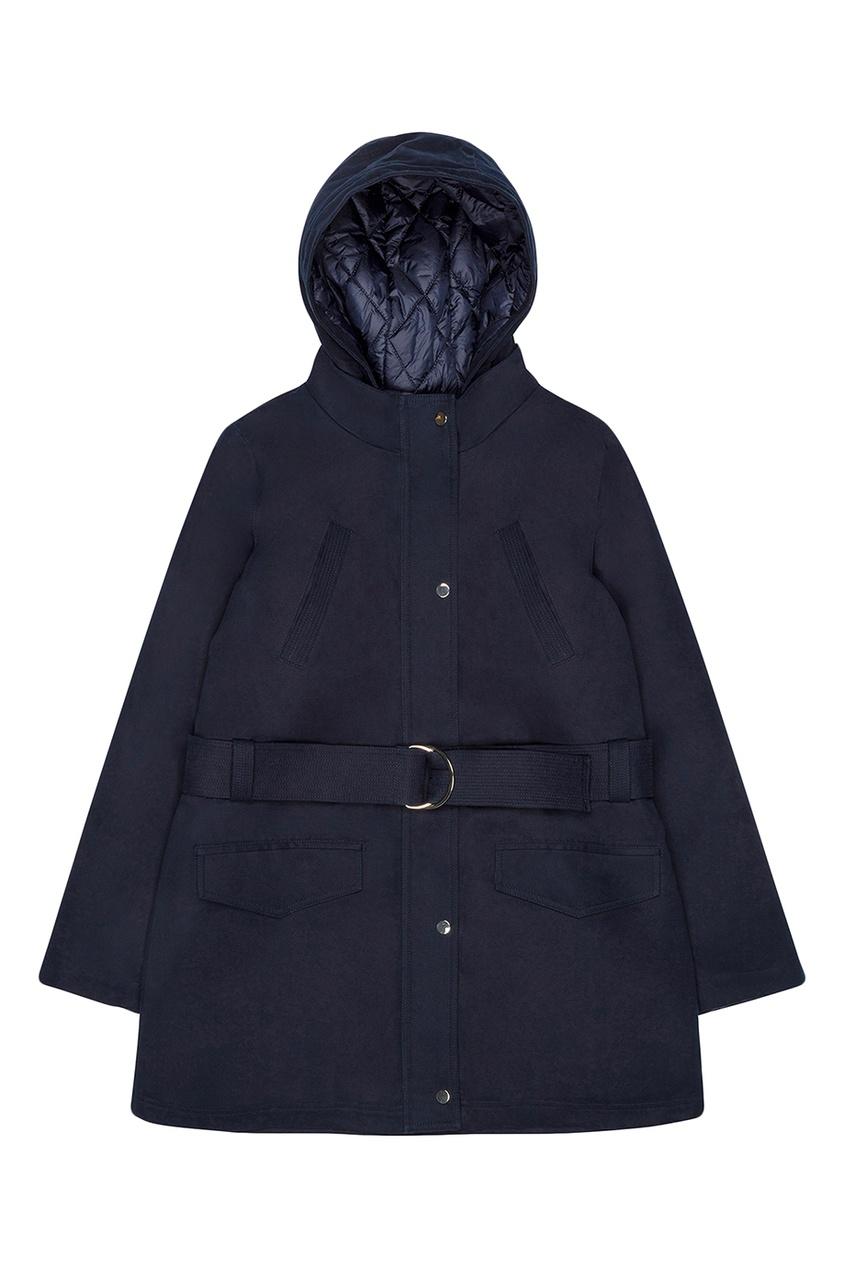 Купить со скидкой Темно-синяя куртка с поясом
