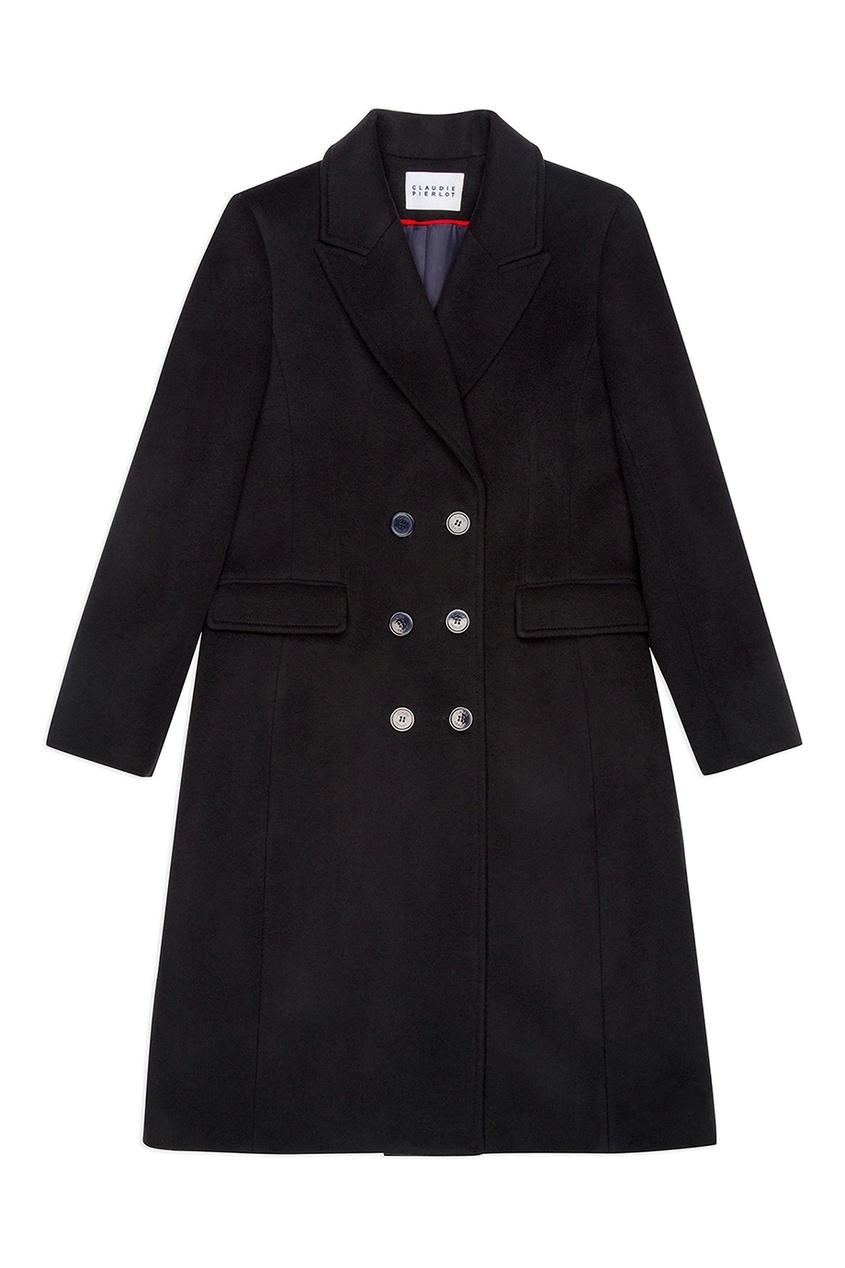 Claudie Pierlot Черное пальто с двубортной застежкой