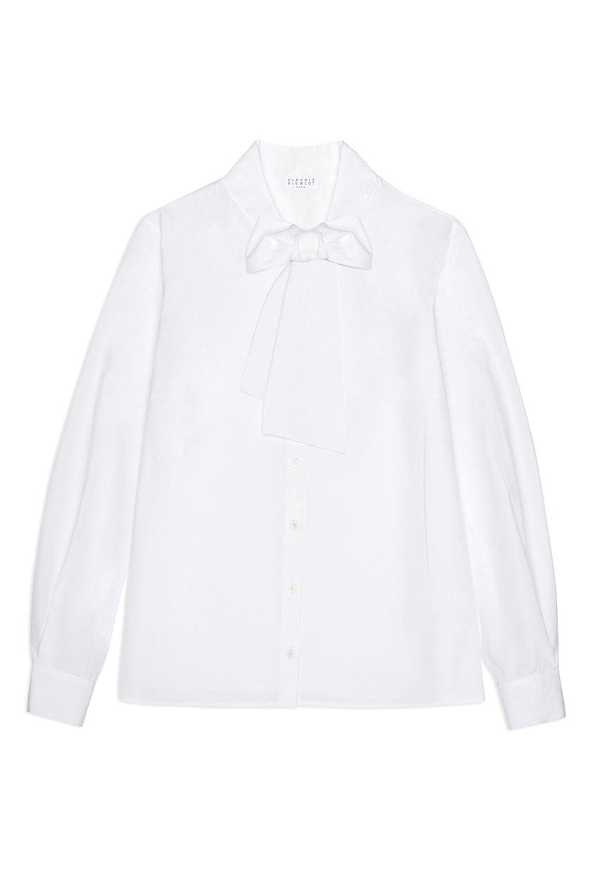 Купить со скидкой Белая блузка с бантом
