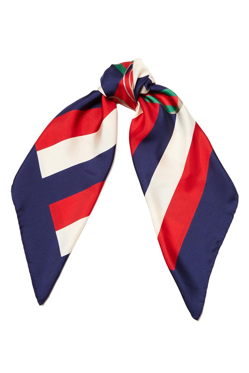 Шелковый платок в полоску с логотипом
