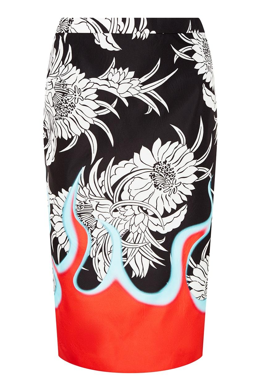 Юбка с цветочным принтом PRADA