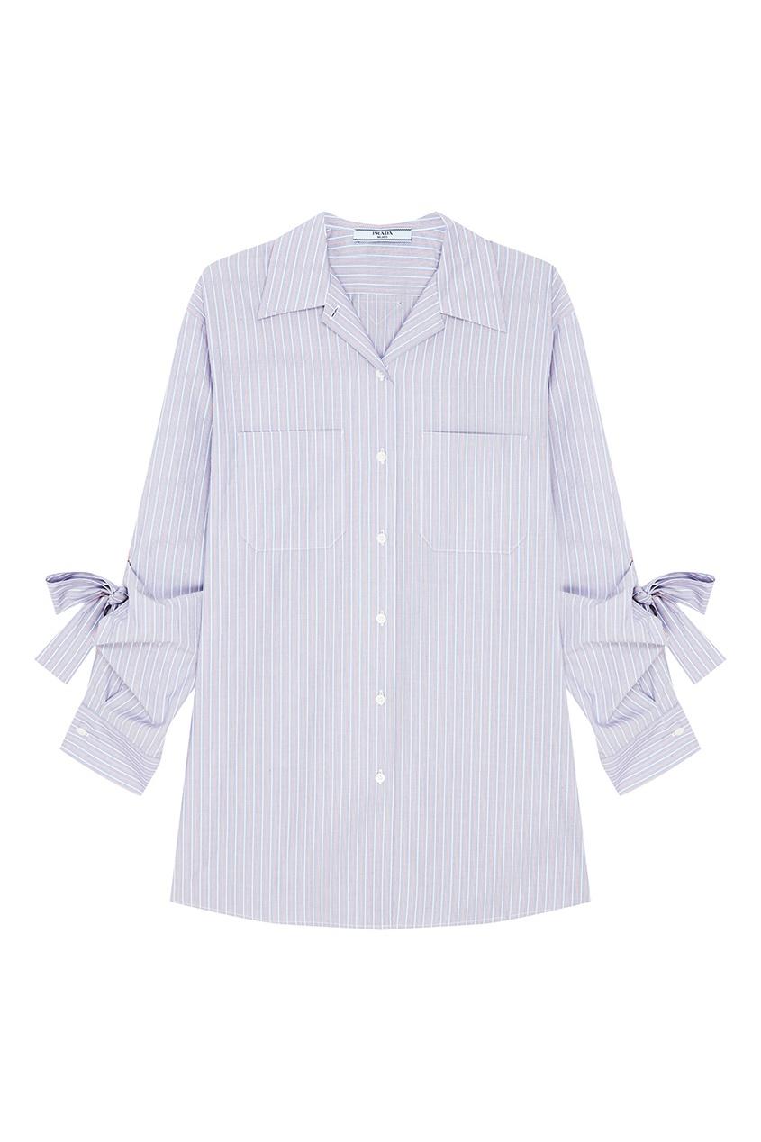 женская рубашка prada, синяя