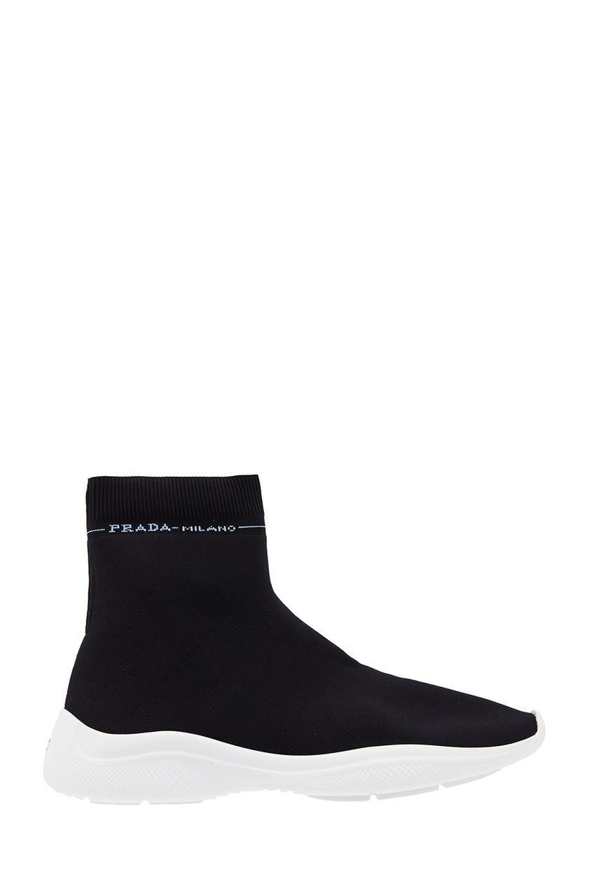 женские ботинки prada, черные