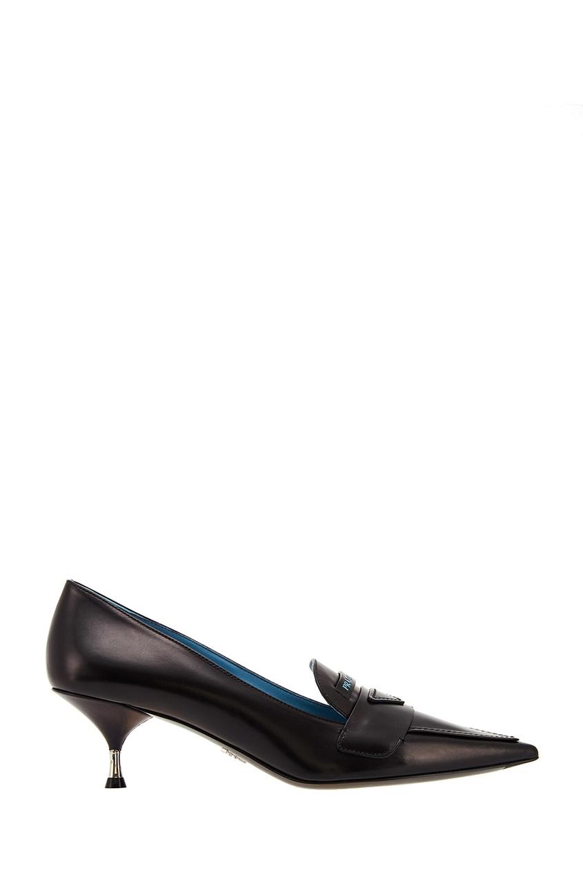 Черные туфли с логотипом PRADA