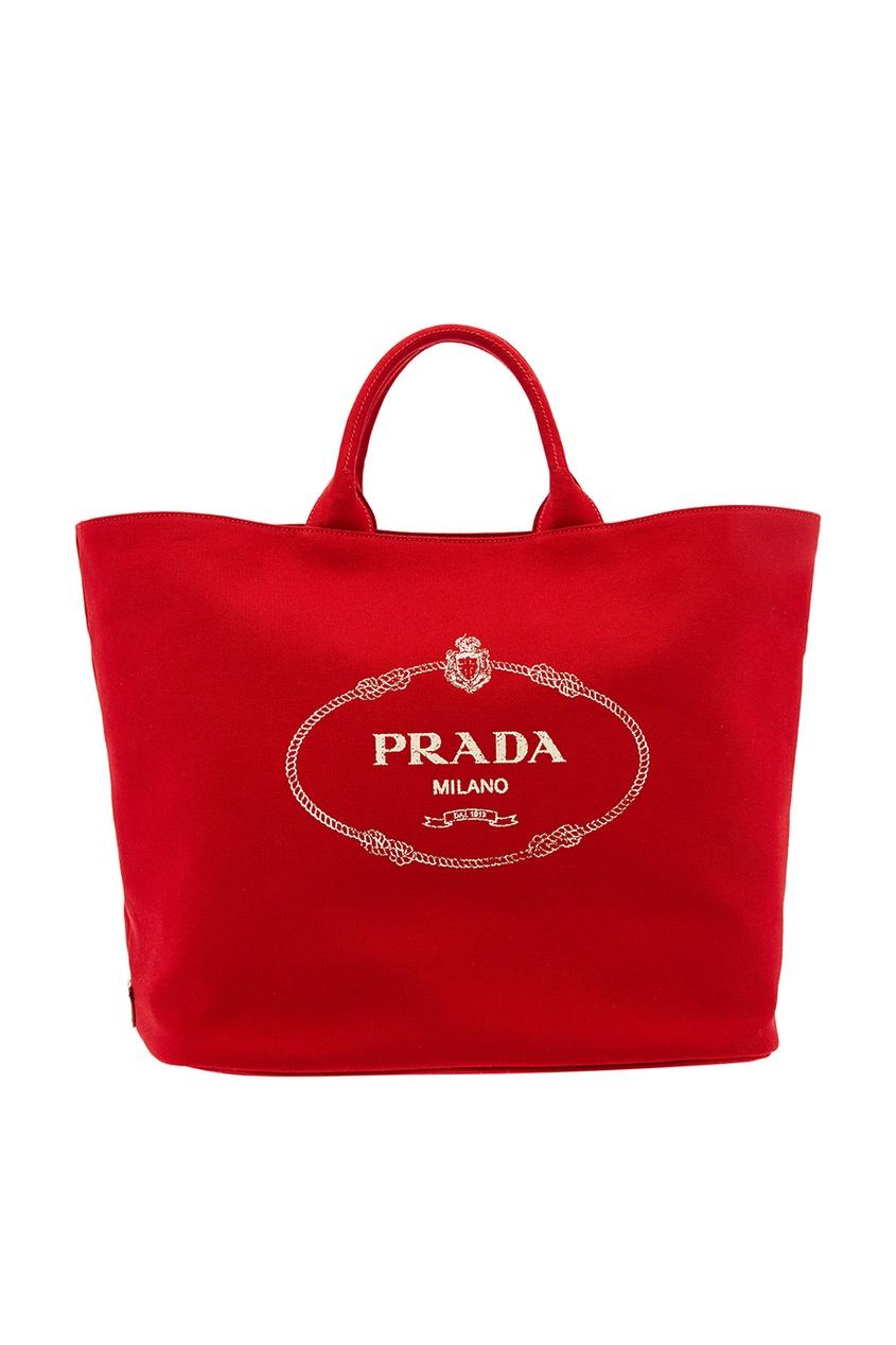 Prada Красная текстильная сумка с логотипом prada красная стеганая сумка diagramme