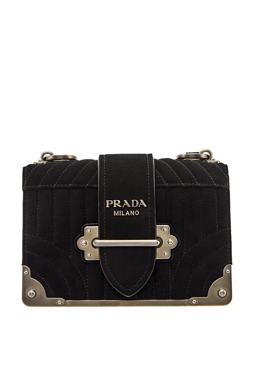 Черная замшевая сумка Cahier PRADA
